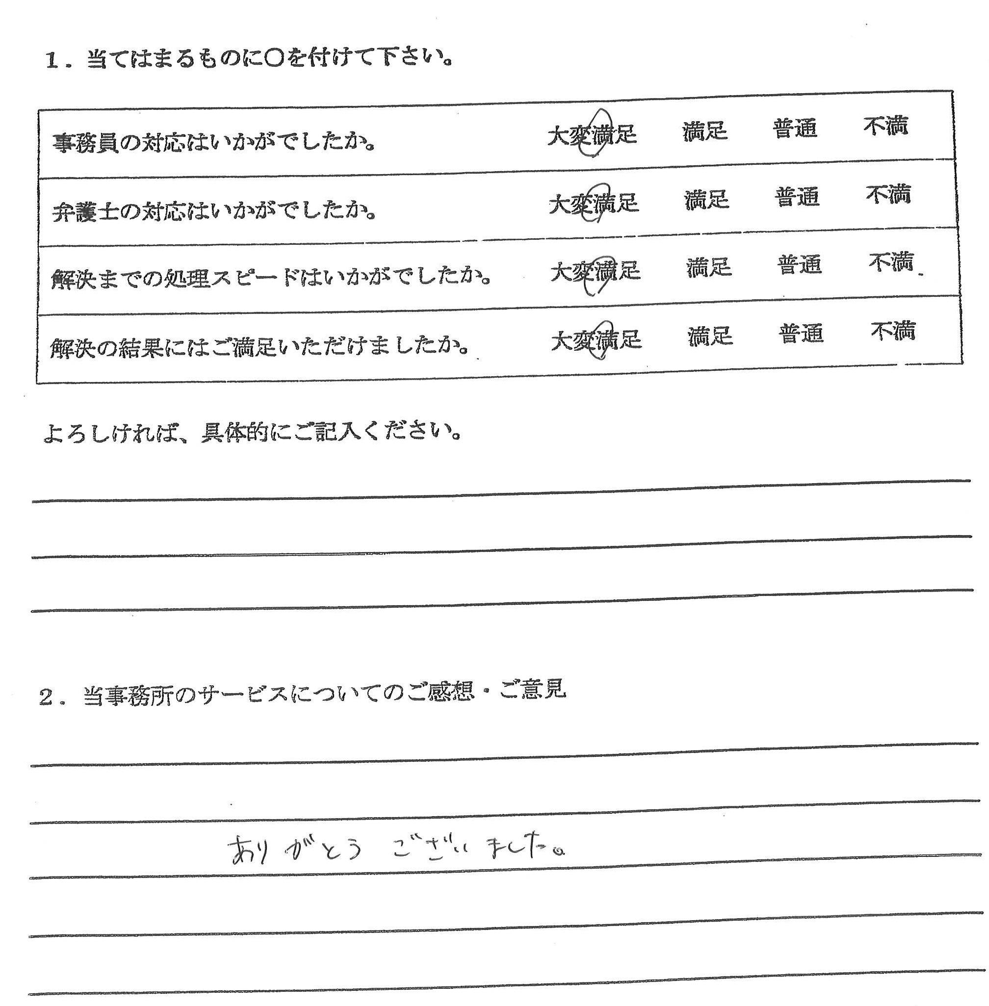 春日井市 20代男性(債務整理・自己破産) : ありがとうございました。