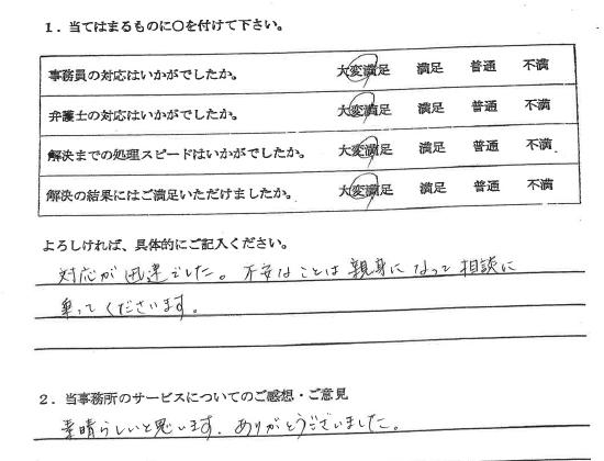 羽島市20代女性(離婚問題・慰謝料被請求) : 対応が迅速でした。不安なことは親身になって相談に乗ってくださいます。 素晴らしいと思います。ありがとうございました。