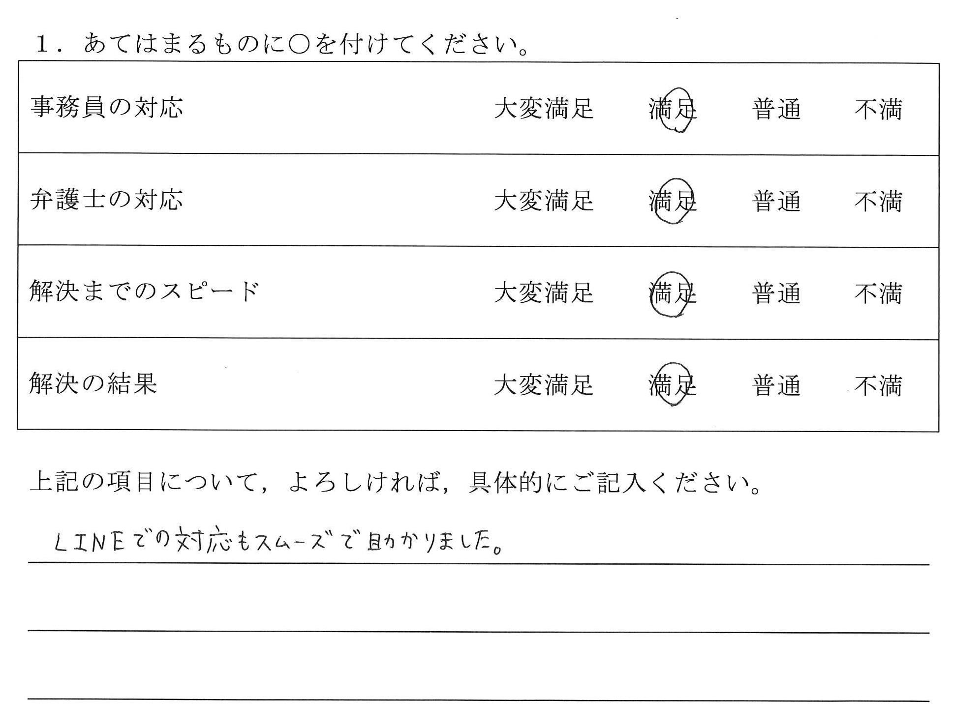 名古屋市20代女性(不貞問題・慰謝料請求) : LINEでの対応もスムーズで助かりました。