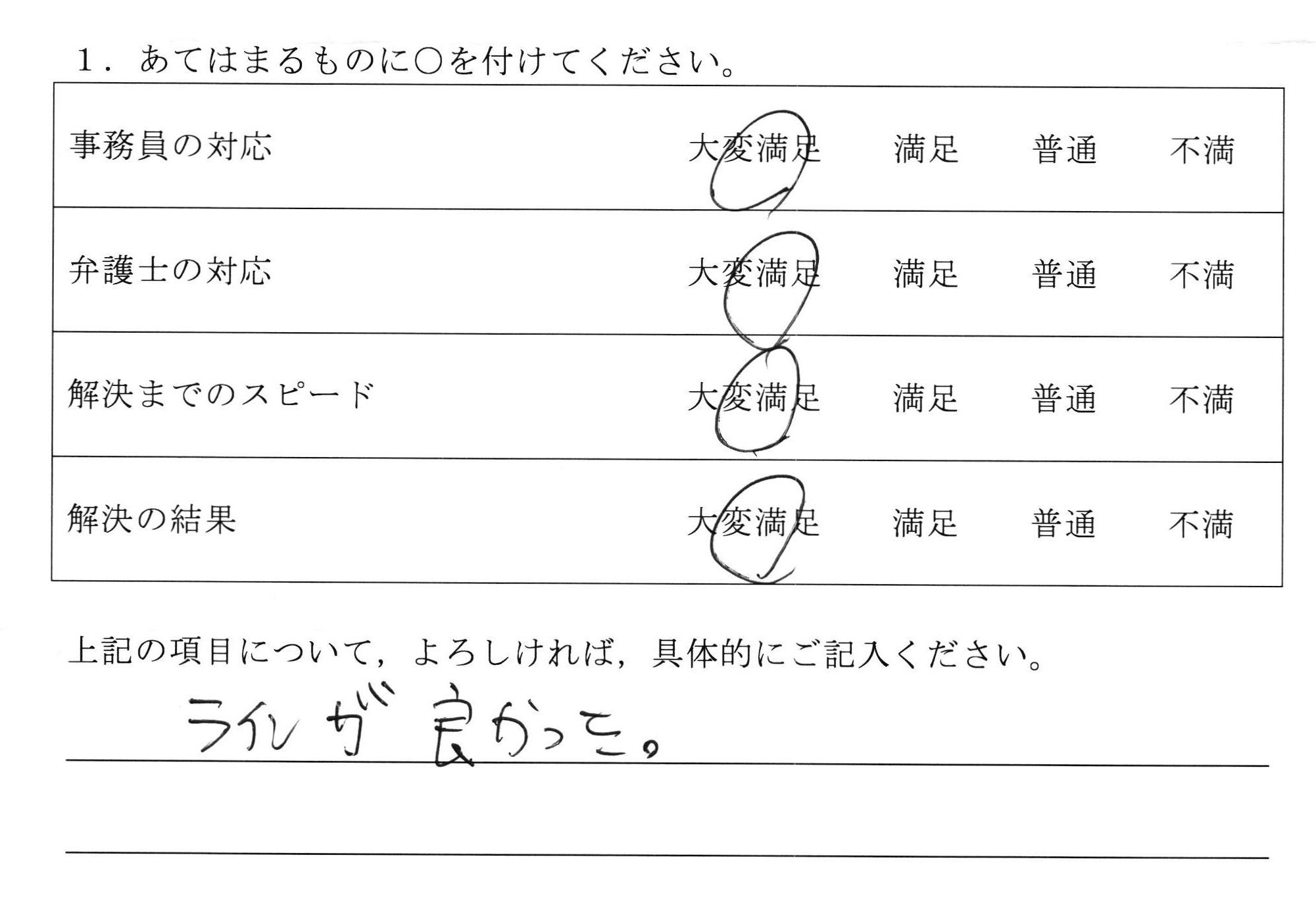 埼玉県50代男性(債権回収)の依頼者様の声 : ラインが良かった。