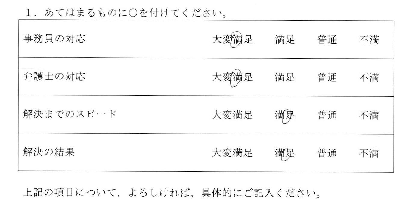 愛知県刈谷市20代女性(不貞慰謝料)の依頼者様の声 :