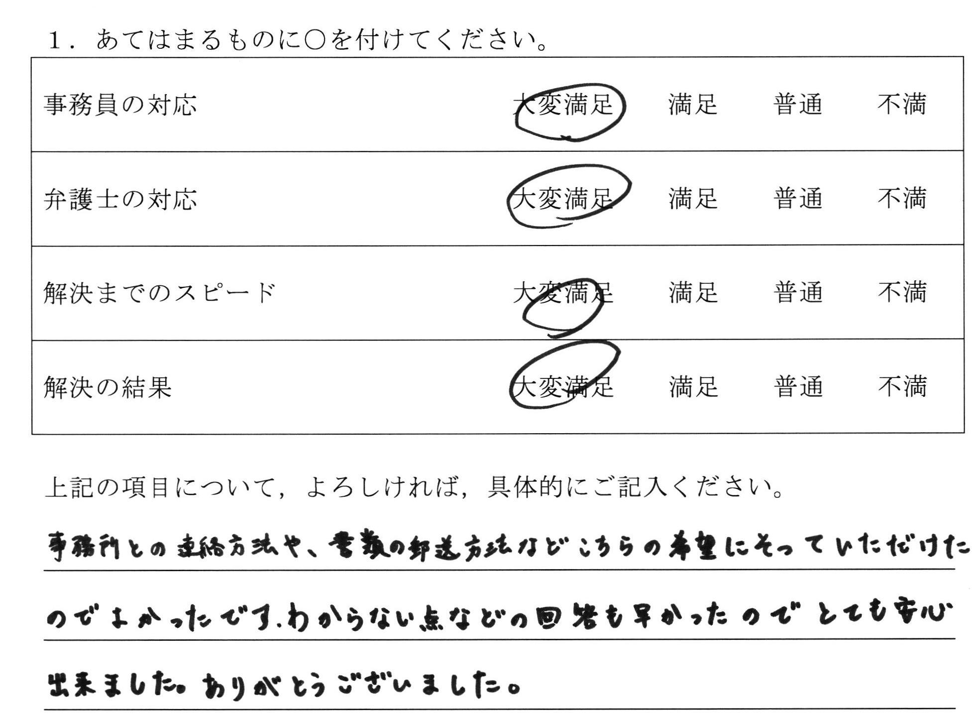 岐阜県40代女性(養育費請求)の依頼者様の声 : 事務所との連絡方法や、書類の郵送方法などこちらの希望にそっていただけたのでよかったです。わからない点などの回答も早かったのでとても安心出来ました。ありがとうございました。