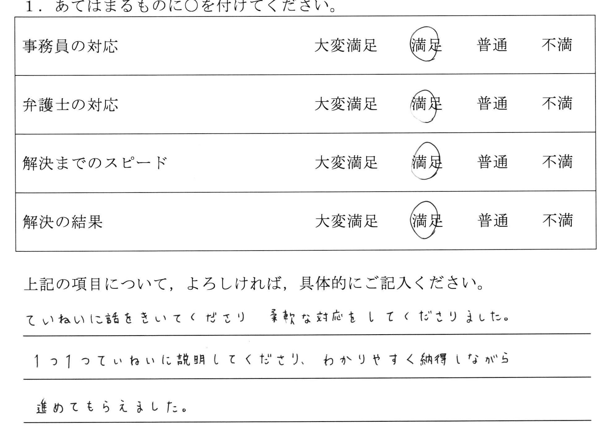 名古屋市30代女性(養育費請求)の依頼者様の声 : ていねいに話をきいてくださり柔軟な対応をしてくださりました。 1つ1つていねいに説明してくださり、わかりやすく納得しながら進めてもらえました。