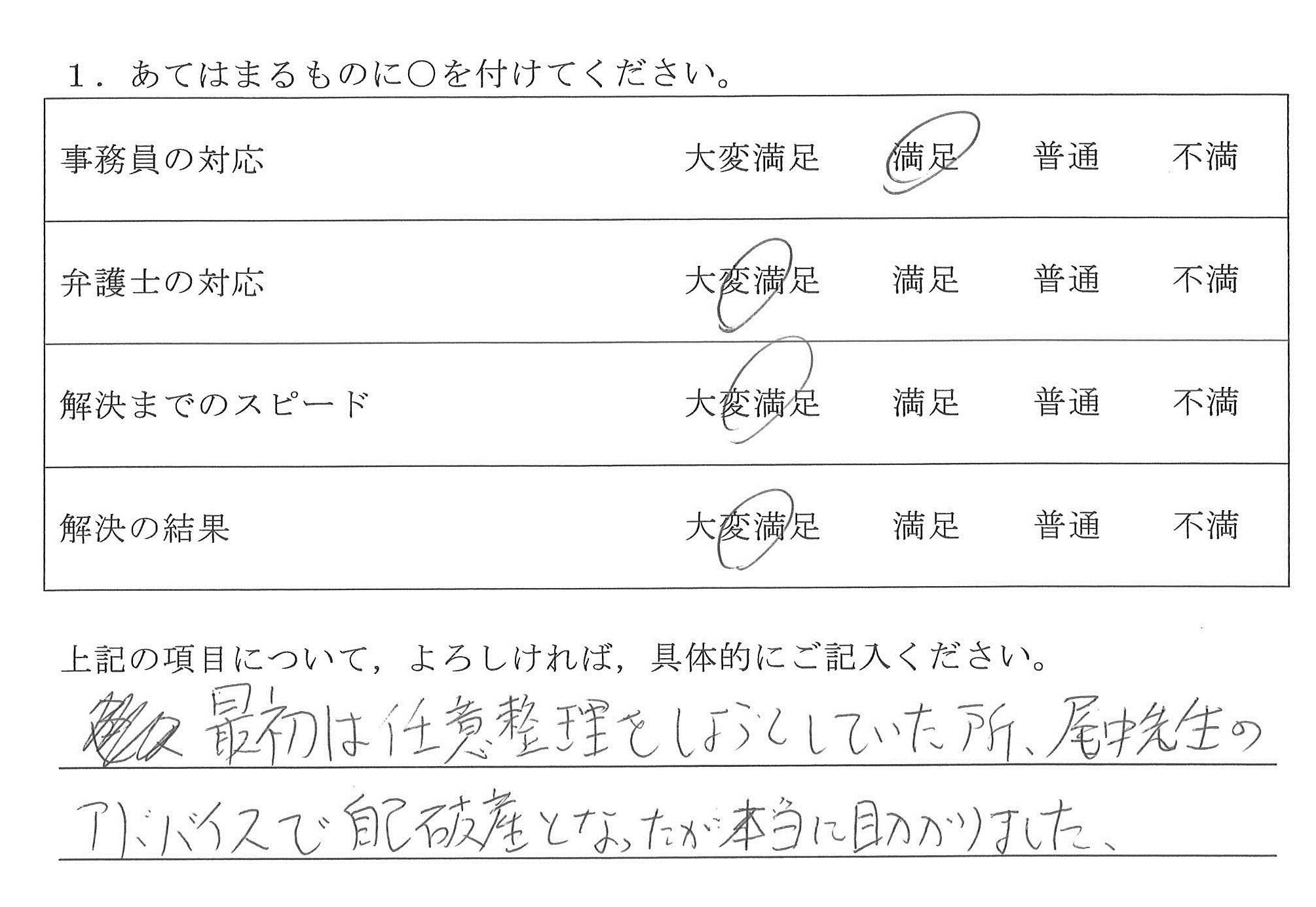 名古屋市30代男性(債務整理)の依頼者様の声 : 最初は任意整理をしようとしていた所、尾中先生のアドバイスで自己破産となったが本当に助かりました。