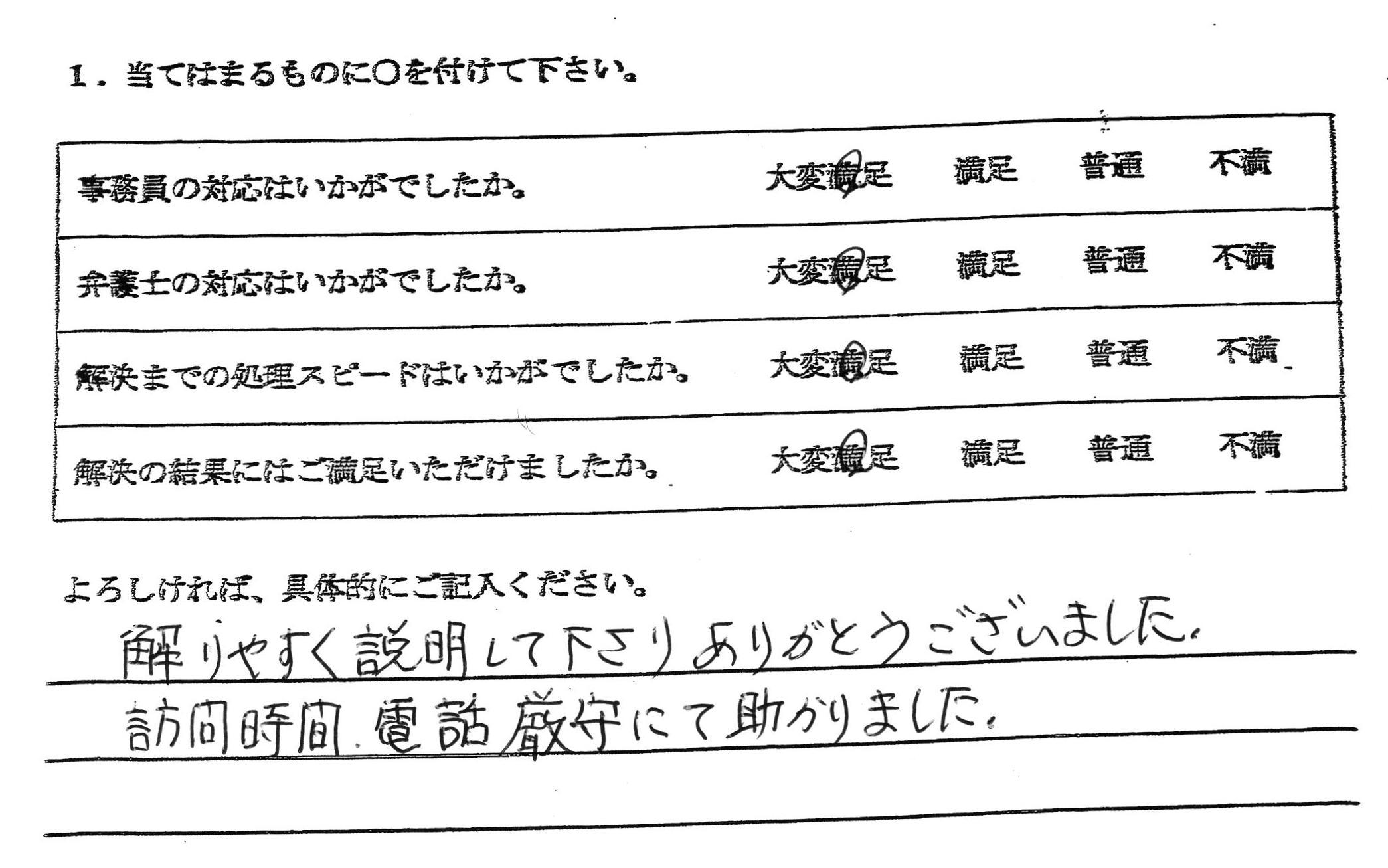 愛知県一宮市60代女性(債務整理)の依頼者様の声 : 解りやすく説明して下さりありがとうございました。 訪問時間、電話厳守にて助かりました。